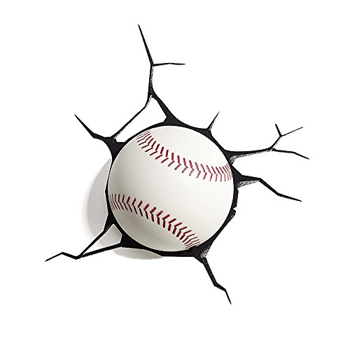 3DLightFX Sports Mini 3D Deco Wall LED Night Light with Crack Wall Sticker, Baseball