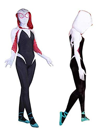 Unisex Lycra Spandex into The Spider Verse Gwen Stacy Zentai Cosplay Costumes Adult/Kids 3D Style -
