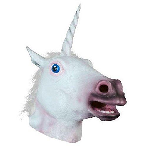Zanbase Deluxe Novelty Halloween Costume Latex Unicorn Animal Mask White Hair Adult Size