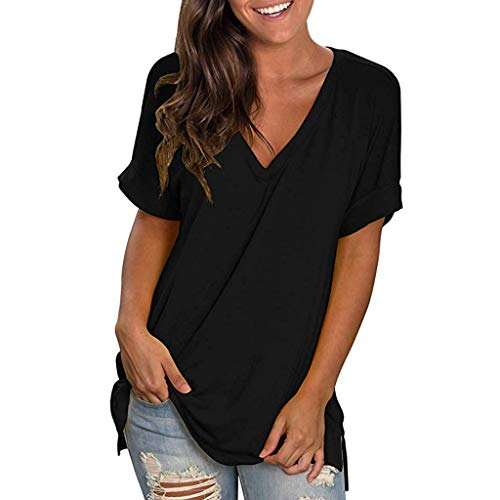 Emimarol Women Blouse Summer V Neck Short Sleeve Shirt Casual Solid Tunic Tops Blouse Black