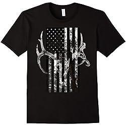 Mens Hunting Deer Skull flag t-shirt Hunters 3XL Black