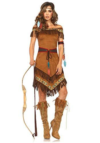 (Leg Avenue Women's 4 Piece Native Princess Costume, Brown,)