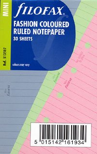 Filofax Pink Pen (Filofax Papers Ruled Notepaper, Fashion Colors Mini Size - FF-513507)