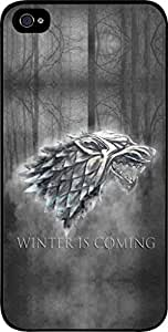 Winter is Coming-Grey-Hard Black Plastic Snap - On Case with Soft Black Rubber Lining-Apple Iphone 5C ONLY- Great Quality!