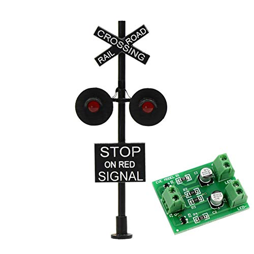 Evemodel JTD877RP 1 Set HO Scale Railroad Train / Track Crossing Sign 2 Heads LED Made + Circuit Board Flasher-Flashing Red Train Stop Signal Lights Decoration and Party