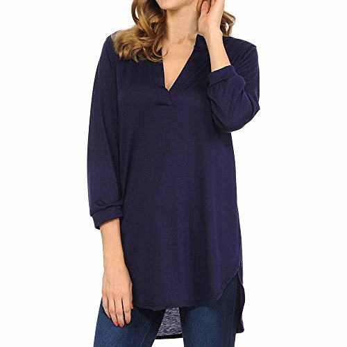 - HAALIFE◕‿ Women's Roll Tab Sleeve Tunic, Perfect Long for Leggings Shirt Cute Versatile Top Navy