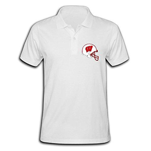 Tinzawsh Wisconsin Badgers Helmet White Casual Pique Polo T-Shirt for Men - XXL ()