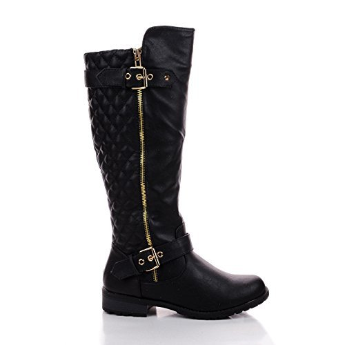 Forever Mango21 Black Knee High Quilted Buckle Riding Moto ()