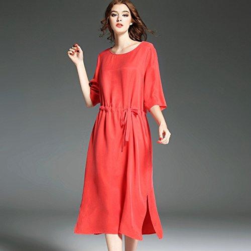 Rouge orangé XXL Le T - Shirt De Printemps De Grande Taille Fine Robe De Soie Lourdes Coupe Simple Robe