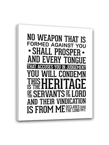 No Weapon That Is Formed Against You Shall Prosper And Every Tongue That Accuses You Canvas Wall Art Modern Home Decorations painting Stretched and Framed Ready to Hang Wall Decor (16X12inch(40X30cm)) (You Shall Prosper)