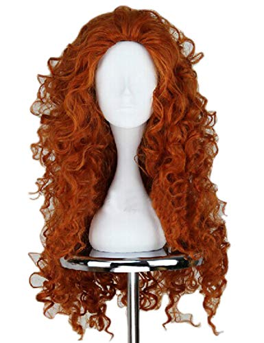 (Angelaicos Women's Fluffy Wavy Party Halloween Costume Merida Wig Long)