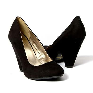 Qupid Women's Shoes Pointy Toe Chunky High Heel Pump, Black Velvet Suede, 9 M US