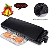 Vacuum Sealer Machine with Automatic Touch Screen, Food Sealer Vacuum Air Sealing System with Starter Bags & Roll and Air Suction Hose for Food Preservation/Sous Vide, Dry& Moist Food Modes (Black)