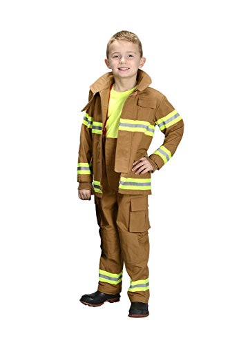 Aeromax Personalized Jr. Firefighter Suit/Bunker Gear, Black or TAN, (2/3, Tan)