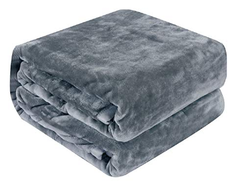 Qbedding Inc. Luxury Collection Microplush Flannel Fleece Blanket | Ultra Soft 380 GSM Lightweight All-Season Anti-Static Throw/Blanket for Sofa Couch Bed (Twin (59'' x 78''), Azure Gray)