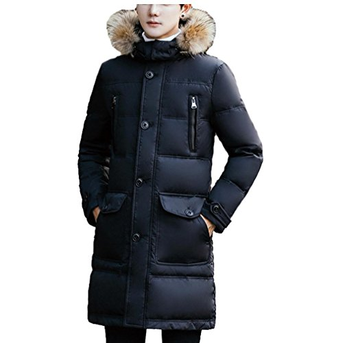 YANXH Winter The New Down jacket Men's In the long Section Detachable Cap fur collar Coat , black , m by YANXH outdoors