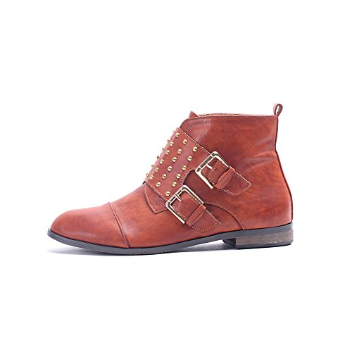 Alexis Leroy - Neutral Style Studded Double Buckle Ankle-high Combat Boots para mujer Camel