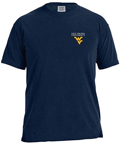 NCAA West Virginia Mountaineers Simple Circle Comfort Color Short Sleeve T-Shirt, True Navy,Medium