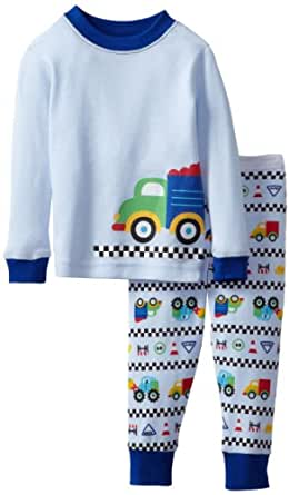 Vitamins Baby Baby Boys' Truck Two Piece Pajama Set, Blue, 12 Months