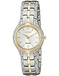 Citizen Womens Eco-Drive Stainless Steel Watch with Crystal Accents, FE2064-52A