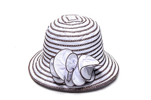 (HIJONES Spring 1920s Flapper Side Flip Cloche Bucket Hat with Flower)