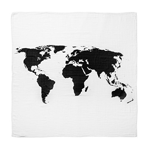 Chenille Bib Burp Cloth (World Map 100% Organic Cotton Baby Swaddle)
