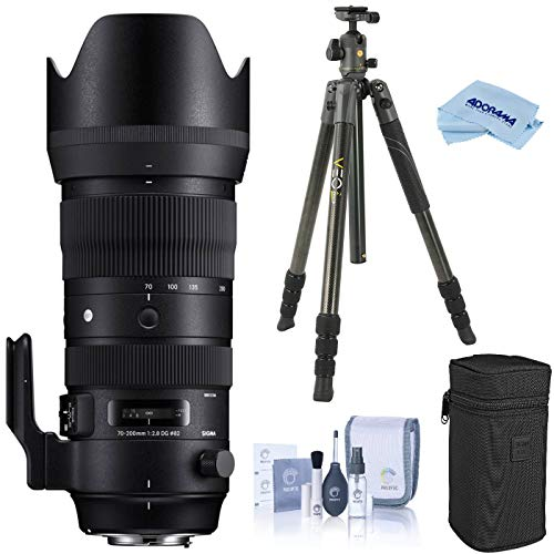 Sigma 70-200mm F2.8 DG OS HSM Sports Telephoto Zoom Lens for Nikon F Mount, DSLR Cameras (590955), Bundle with Vanguard VEO 2 264CB Carbon Fiber Travel Tripod with BH-50 Ball Head, Cleaning Kit