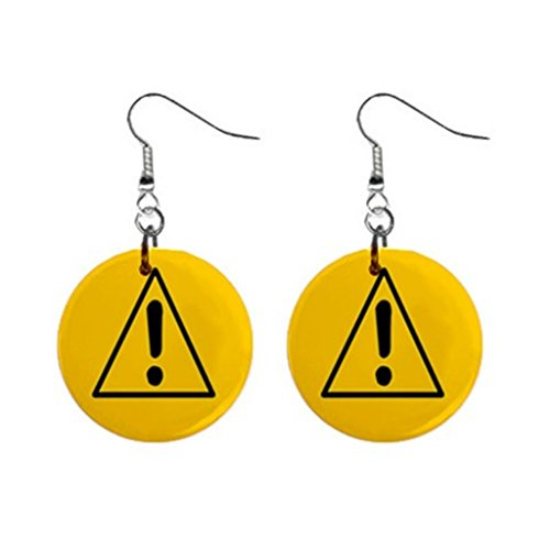 Warning Sign Earrings,Yellow background