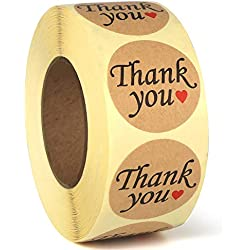 "Thank You Stickers, 1.2"" Circle Stickers – 500Pcs Removable and Adhesive Label Kraft Paper"