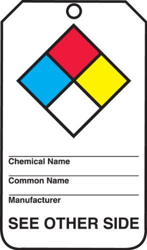 Accuform Signs THS101PTP Hazardous Material Tag, Legend(NFPA Diamond/Hazard Code Index), 5.75