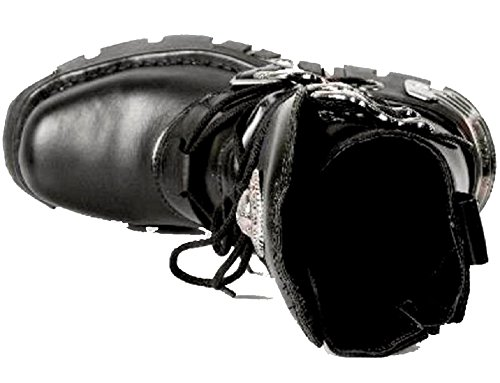 New Rock Unisex Schwarz WadenlŠnge Stiefel mit SchŠdel Schnallen - lodernder SchŠdel-Muster