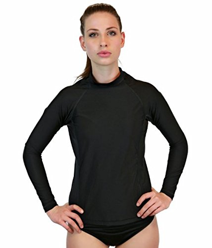 Rash Guard For Women - Long Sleeve Swim Shirt, UV 50 Skin Protection, Swim & Workout Shirt. Made In The USA! Plus Size (Black, (Men Looking For Plus Size Women)