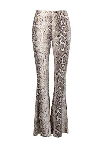 (Glam and Gloria Womens White Snake Pattern Animal Print Flared Bell Bottom Pants - Size Large)