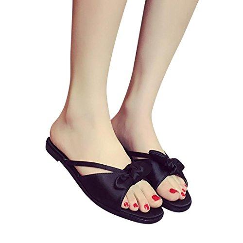 Winwintom Verano de mujer bowknot zapatos peep toe zapatos bajos de sandalias romanas señoras flip flops Negro