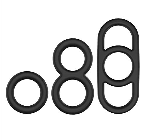 14HAO Black of Men Silicone Lock Ring Delay Ring, Three/Two/one Hole Design 3 pcs Set -66 by 14HAO