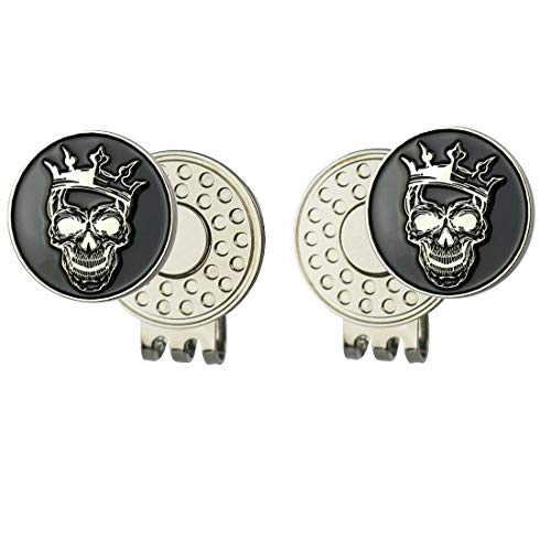 GOLTERS Enamel Skull Ball Marker with Magnetic Golf Hat Clip (2 Crown)