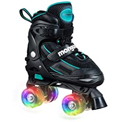 Mongoose roller skates are ideal for a young child learning how to skate. The skates are adjustable through 4 sizes so they will not out grow them immediately. The dual straps and large front toe stopper will keep them safe and secure while t...