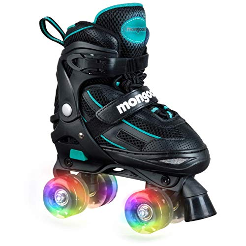 Mongoose Roller Skates for Girls Adjustable with Light Up Wheels Beginner Inline Skates Fun Illuminating for Kids Boys and Girls, Black (Best Shoes To Skate In)