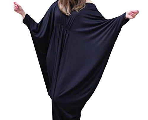 Coolred Loose Dress Sleeve Dolman Solid Beach Wear Black Women n4FxUn