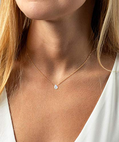 Moonstone Necklace, Handmade Genuine Rainbow Moonstone with Rose Gold Plated Sterling Silver Chain 16