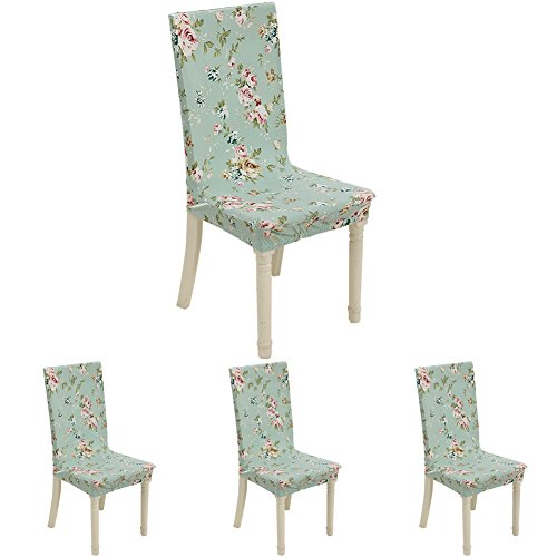 ColorBird Secrect Gadern Flower Spandex Fabric Chair Slipcovers Removable Universal Stretch Elastic Chair Protector Covers for Dining Room, Hotel, Banquet, Ceremony (Set of 4, Aqua)