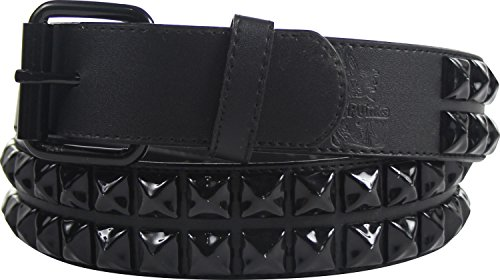 Black double row pyramid studded leather belt W/ black studs, Size: Large (37-41), Color: Black Double -