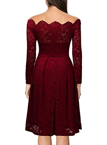 MRstriver Women's Vintage Floral Lace Long Sleeve Boat Neck Cocktail Formal Swing Dress C-redXX-Large]()
