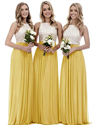 Girl's A Line Chiffon Formal Prom Dress Long Top Lace Bridesmaid Dresses for Junior Yellow Size 10