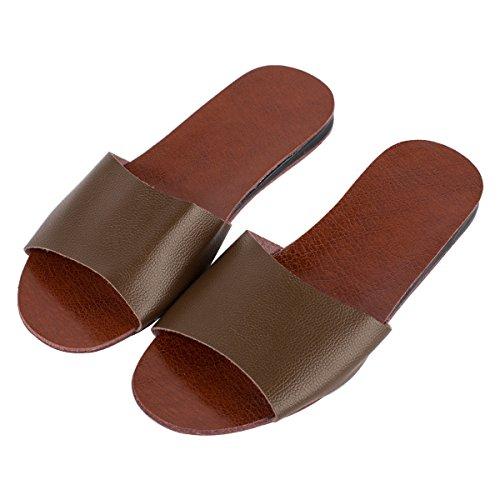 Haisum 8804-m - Zapatillas de estar por casa de piel sintética para hombre café