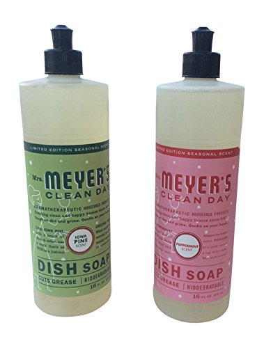 Mrs. Meyer's Clean Day Limited Edition Liquid Dish Soap, Iowa Pine & Peppermint, 16oz, 2pk (Pine Liquid Dish)