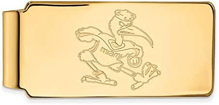 14k Yellow Gold LogoArt Official Licensed Collegiate University of Miami (UM) Money Clip
