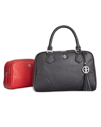 Giani Bernini Womens Leather 2-In-1 Satchel Handbag Black Medium Bernini Womens Handbag