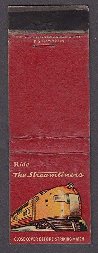 Ride the Streamliners Union Pacific RR railroad matchcover