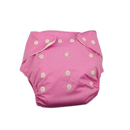Befaith Reutilizable lavable ajustable de un solo tamaño bebé bolsillo pañales pañales pañal Rosa y cuadrícula